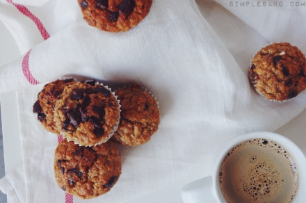 Muffins de avena plátano y chocolate- simple&sano